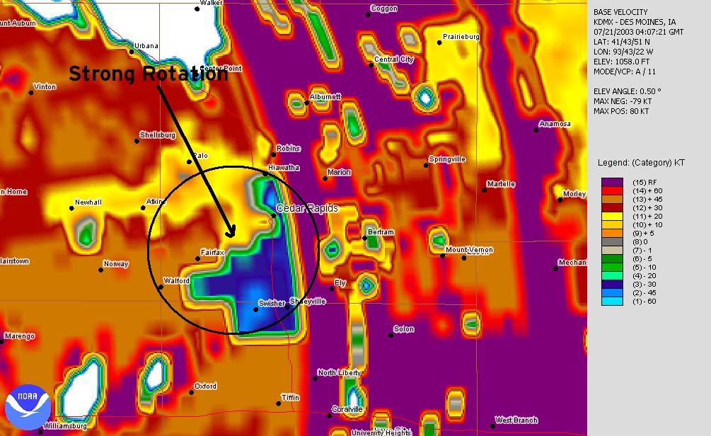 July 20, 2003 11:07 p.m. Des Moines velocity image