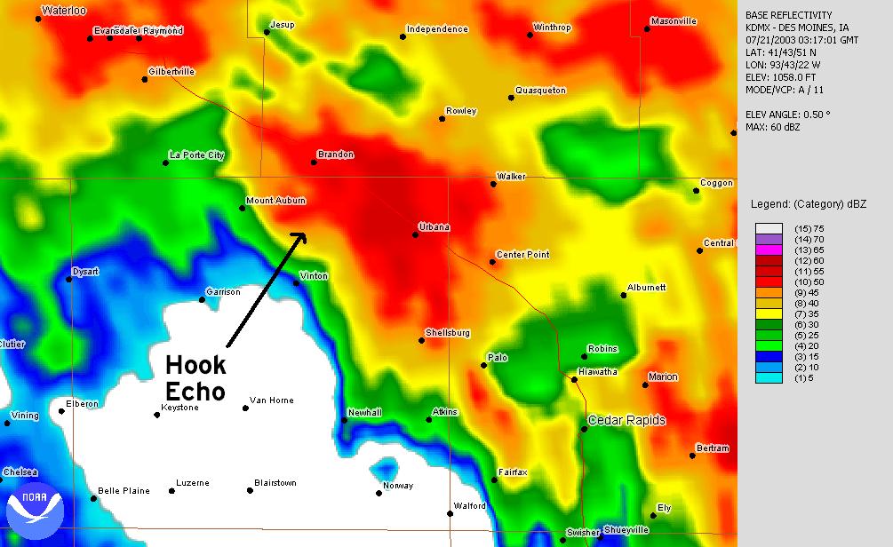 July 20, 2003 10:17 p.m. Des Moines radar image