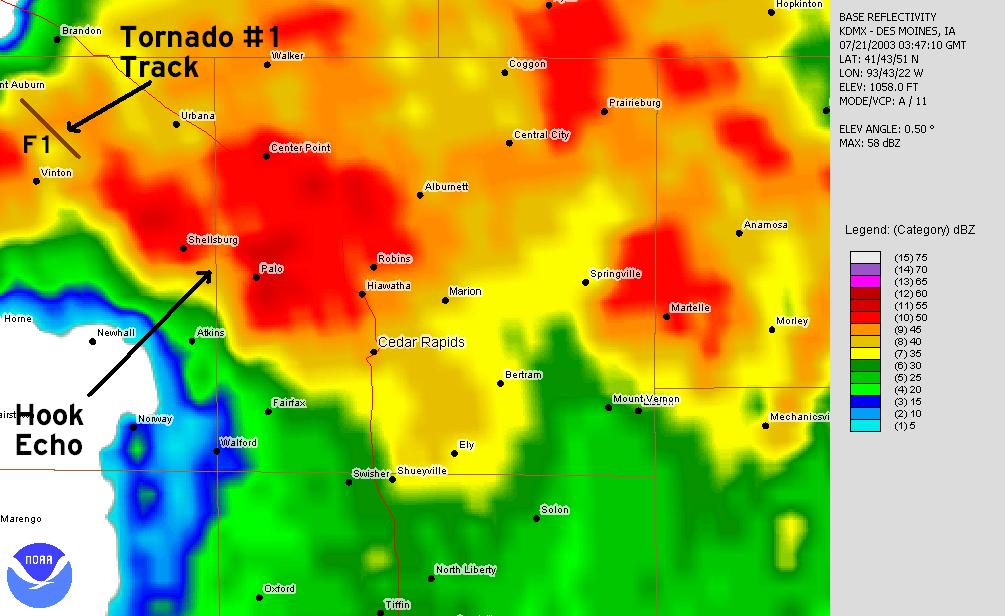 July 20, 2003 10:47 p.m. Des Moines radar image