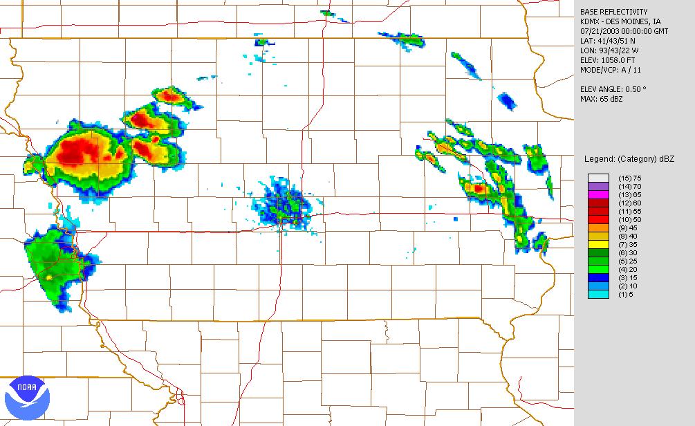 July 20, 2003 7:00 p.m. Des Moines radar image