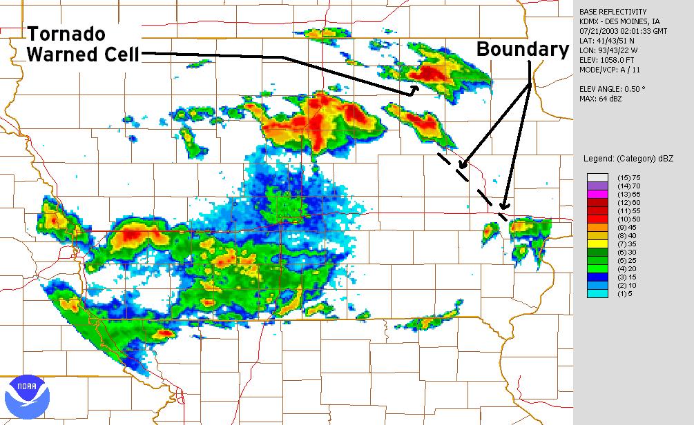 July 20, 2003 9:00 p.m. Des Moines radar image